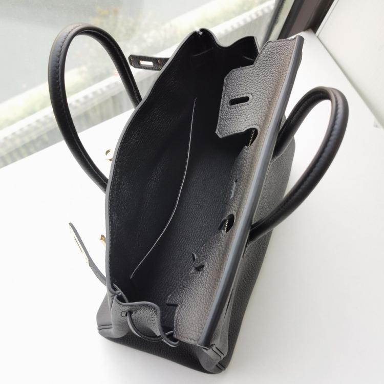 未使用展示品爱马仕C刻Birkin25黑色金扣女士铂金包