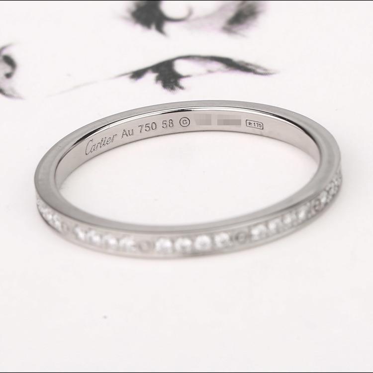 卡地亚18K白金密镶钻石双环戒指 圈号:58#