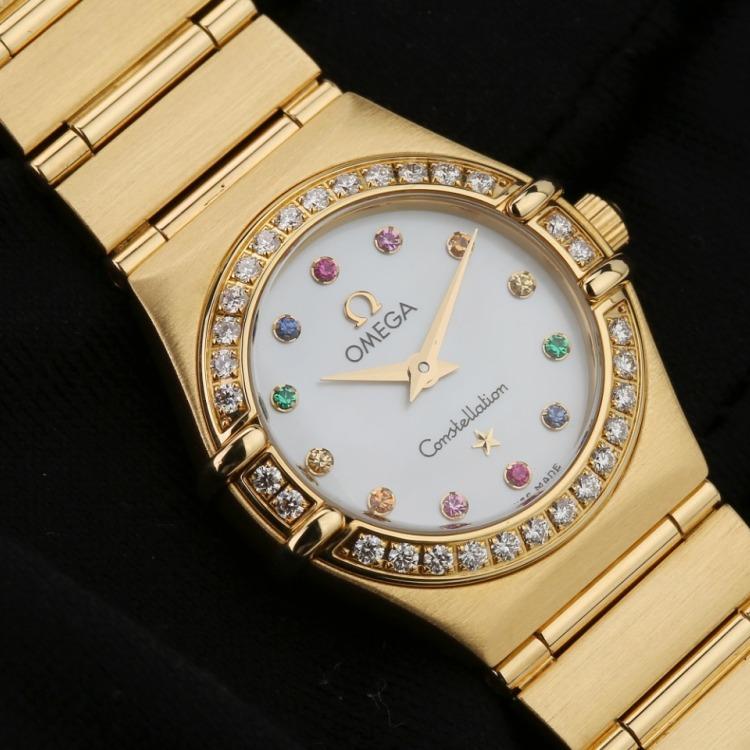 欧米茄星座系列18K全黄金原镶钻贝母面石英女表腕周160mm