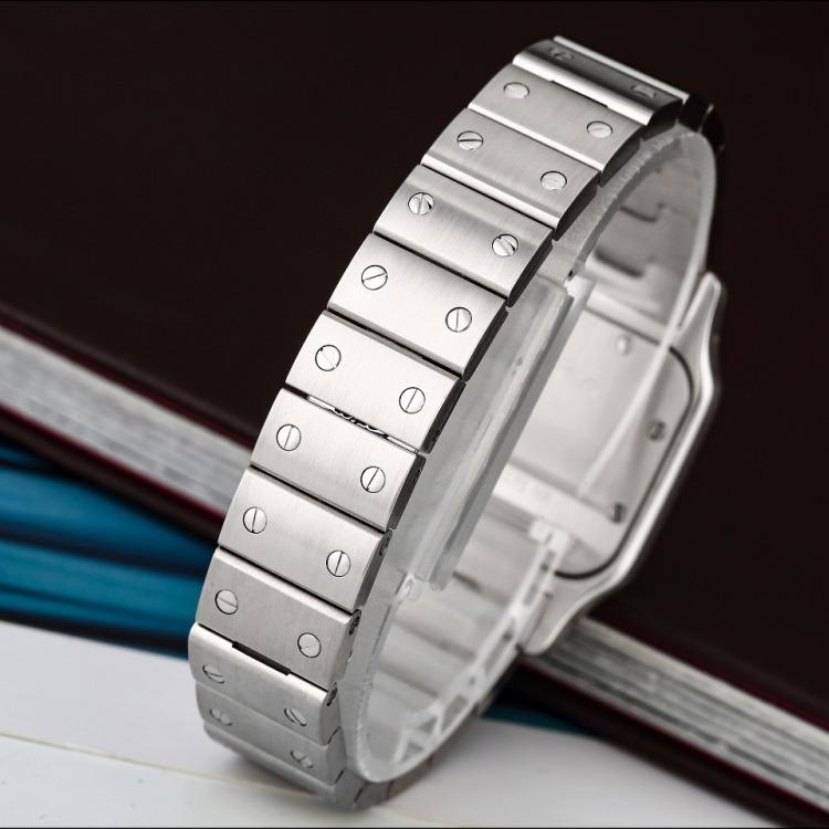 卡地亚山度士系列精钢W20056D6后镶钻石英女表160mm