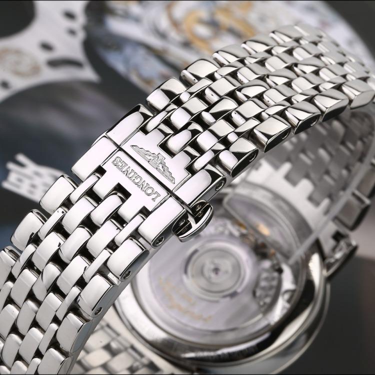 浪琴博雅系列精钢原镶时标钻自动机械男表 腕周180mm