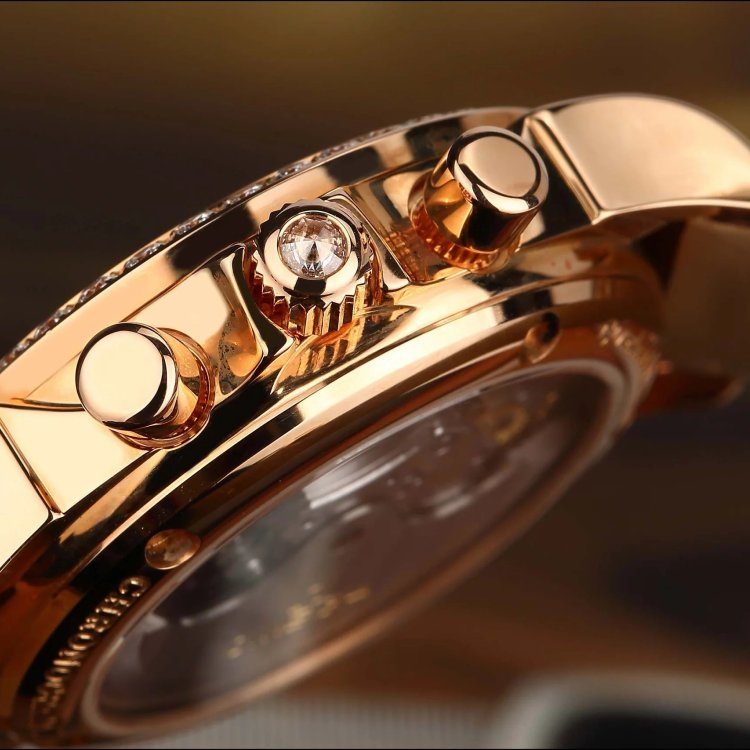 12年欧米茄碟飞系列18k玫瑰金原镶钻自动机械女表