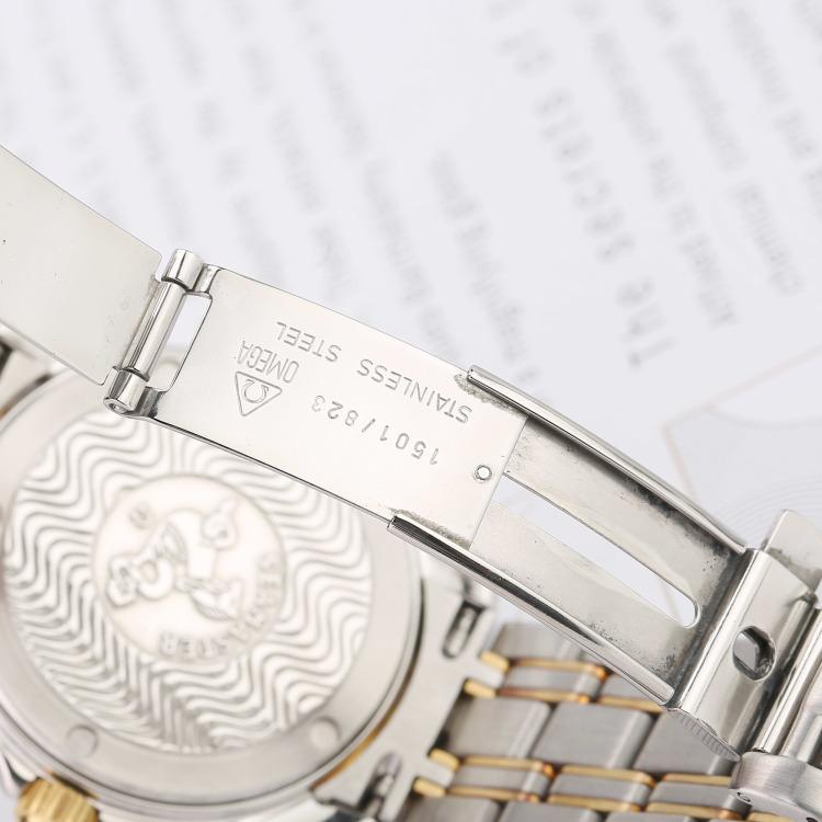 欧米茄海马系列18K黄金精钢石英男表 腕周180mm