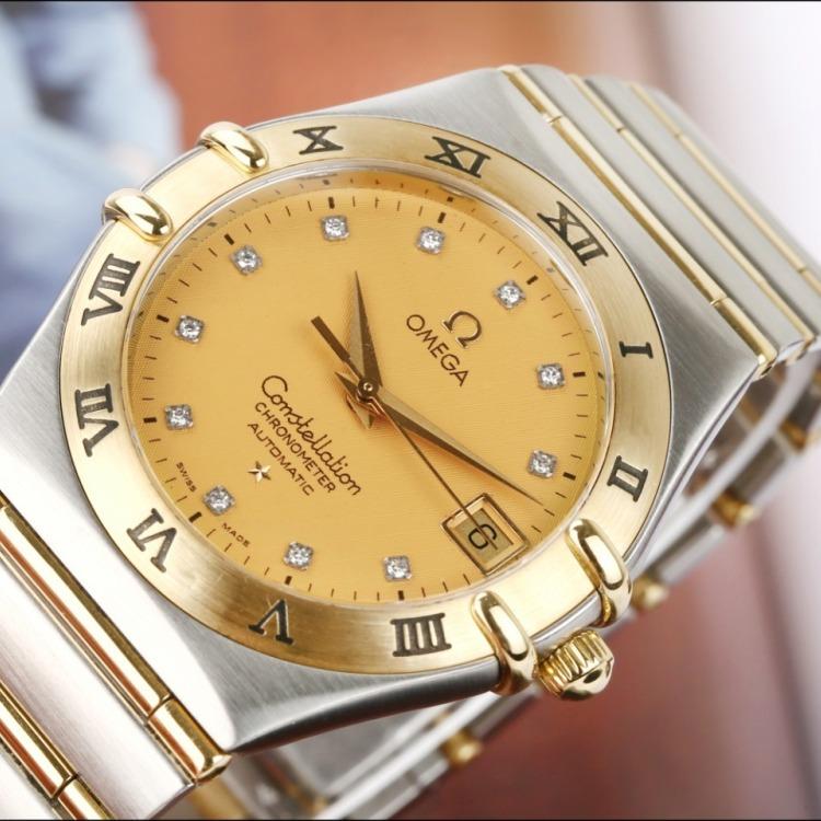 欧米茄星座系列18K黄金精钢原镶时标钻自动机械男表180mm