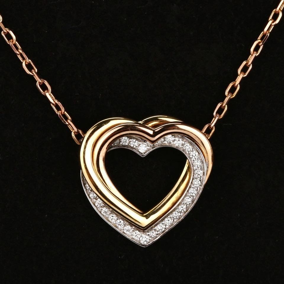 卡地亚18K白金&黄金&玫瑰金三色金密镶钻石心形项链