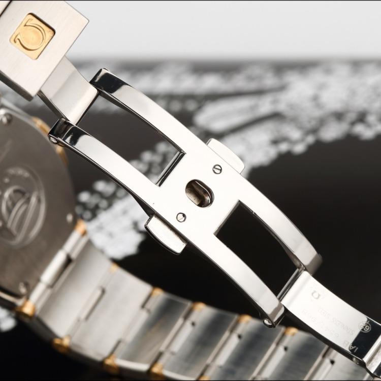 欧米茄星座18k黄金精钢原镶钻石英女表 腕周160mm