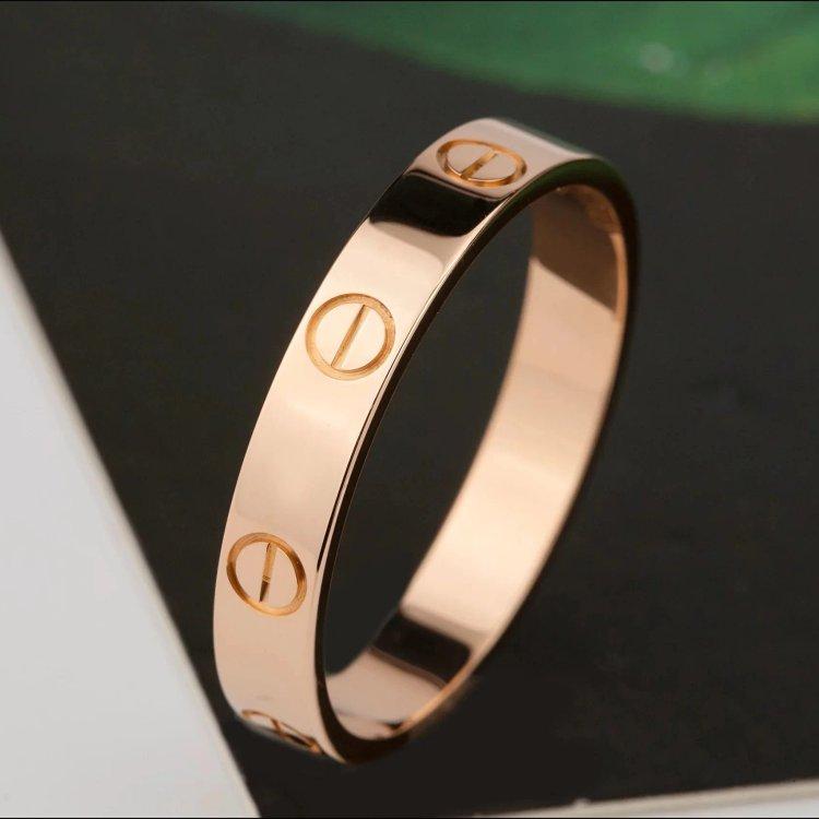 卡地亚LOVE系列18K玫瑰金窄边戒指圈号53#宽3.6mm