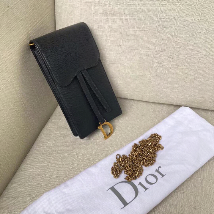 Dior 迪奥黑金牛皮单肩包