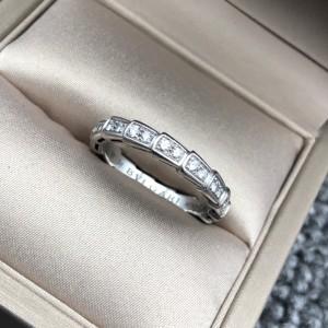 BVLGARI宝格丽满钻白金蛇骨戒指