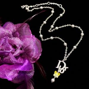 Dior 迪奥 限量款满钻大logo极光炫彩水晶蝴蝶珍珠流苏吊坠锁骨链项链