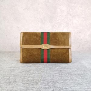 GUCCI 古驰麂皮红绿条手包