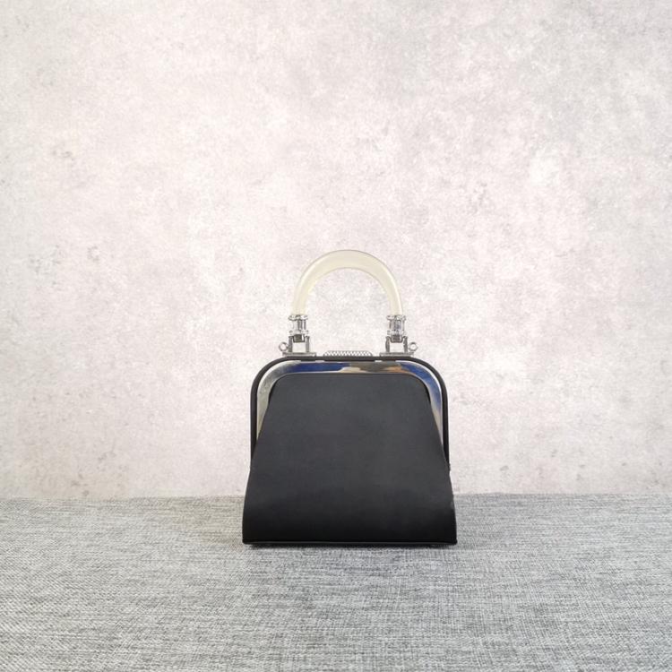 Dior女士限量版黑色缎面迷你钻扣透明医生手提包