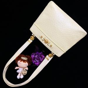 Versace 范思哲太阳神限量款金扣奶油色鸵鸟皮托特包单肩手提包
