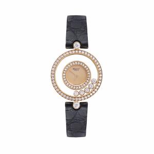 Chopard 萧邦HAPPY DIAMONDS系列玫瑰金原镶钻女士腕表