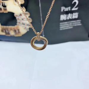Cartier三色金三环项链