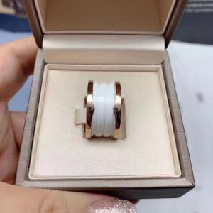 BVLGARI宝格丽四环白陶瓷戒指