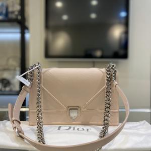 Dior迪奥樱花粉盾牌包中号单肩斜挎包
