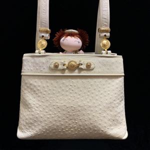 Versace 范思哲 太阳神限量款金扣奶油色鸵鸟皮托特包单肩手提包