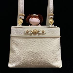 Versace 范思哲太阳神限量款金扣奶油色鸵鸟皮托特包手提单肩包