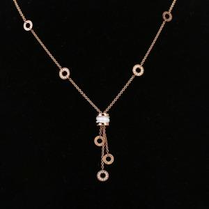 16年宝格丽B.ZERO1系列18K玫瑰金&陶瓷密镶钻石项链