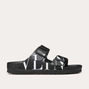 Valentino华伦天奴 男士黑色VLTN徽标印纹凉拖鞋 凉鞋/拖鞋