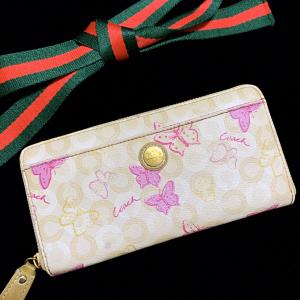 COACH 蔻驰 奶茶色&芭比粉蝴蝶泡泡长款拉链钱包