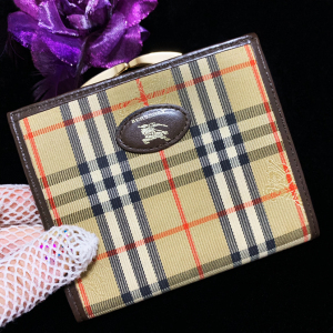Burberry 博柏利重工刺绣战马格纹拼皮双面短款钱包