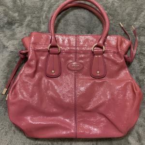 TOD'S 托德斯正品全皮漆皮紫红色手提包
