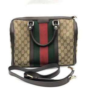 GUCCI红绿条纹波士顿手提包