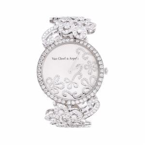 Van Cleef Arpels 梵克雅宝高级珠宝腕表系列白金原镶钻蝴蝶链女士腕表