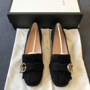 GUCCI 古驰黑色珍珠麂皮平底鞋