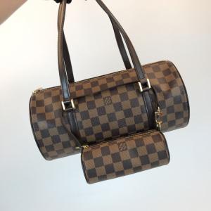 Louis Vuitton 路易·威登棕棋盘格圆筒子母女士单肩包