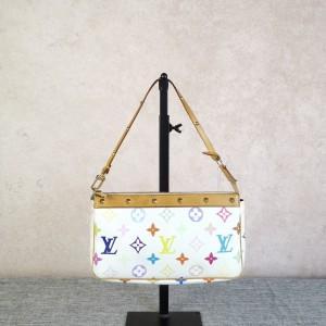 Louis Vuitton 路易·威登女士白三彩铆钉麻将包手提包