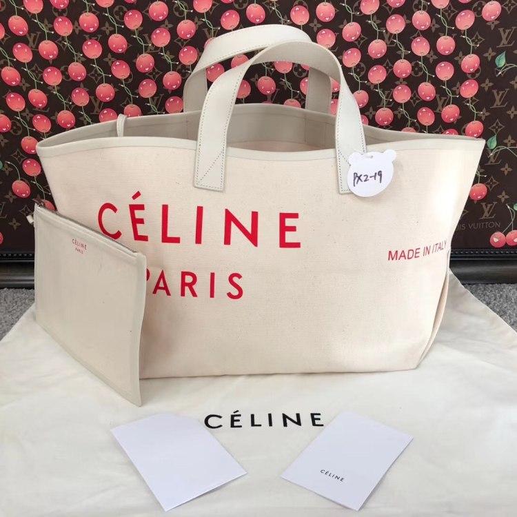 Celine赛琳女士单肩包CELINE 经典BIG BAG纯白帆布子母涂鸦tote购物袋