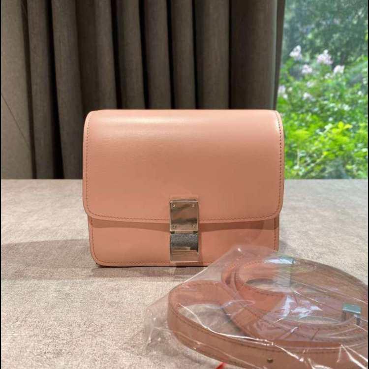 Celine赛琳单肩包樱花粉银扣光面皮 mini box
