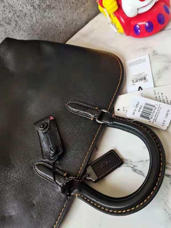 COACH蔻驰女士单肩包黑色苹果包手提包
