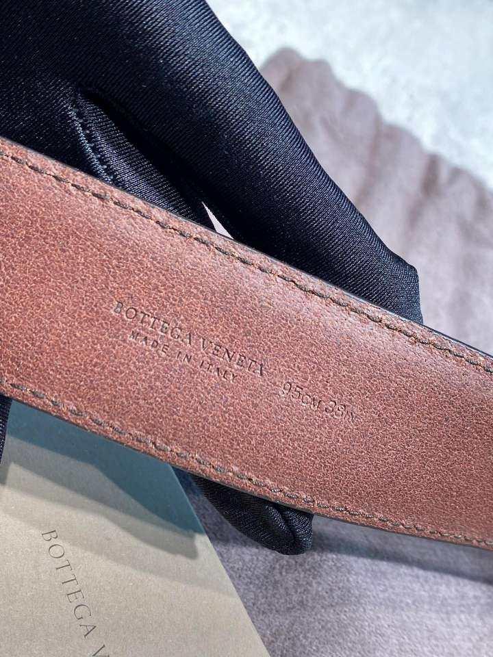 Bottega Veneta葆蝶家男士腰带咖色全皮编织磨砂头针扣腰带