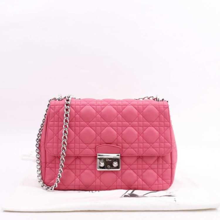 Dior迪奥女士单肩包DIOR 粉色菱格链条包
