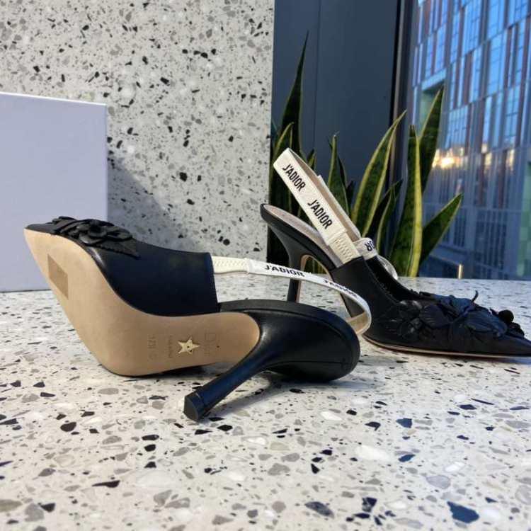 Dior迪奥女士高跟鞋黑色小高跟鞋