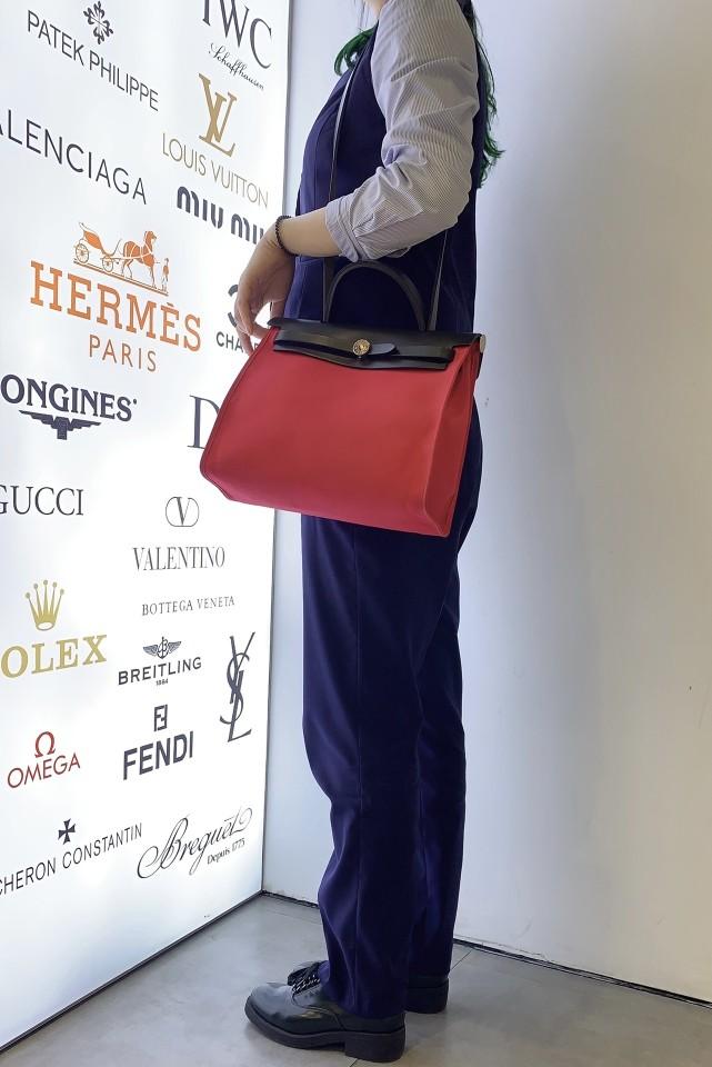 Hermès爱马仕单肩包红色herbag 31 子母袋 手提包