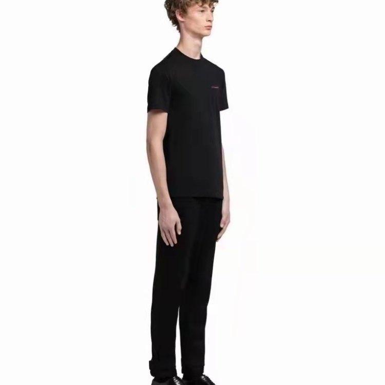 PRADA普拉达男士T恤 基础款纯棉黑T