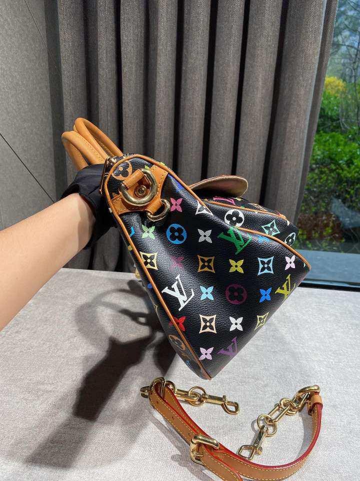 Louis Vuitton路易威登路易·威登女士手提包黑三彩元宝包