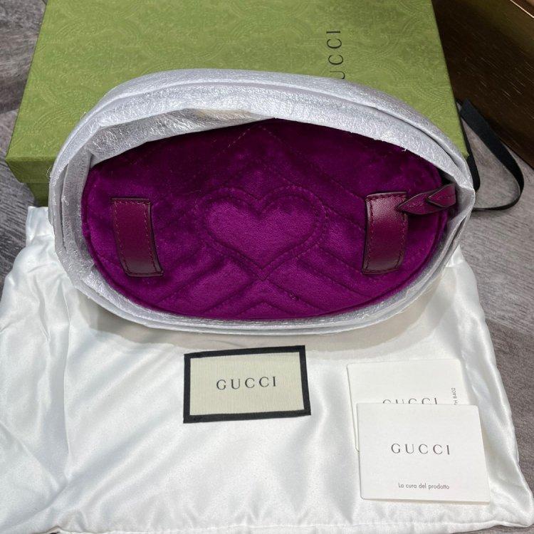 GUCCI古驰女士腰包/胸包Gucci爆款marmont 紫色丝绒腰包