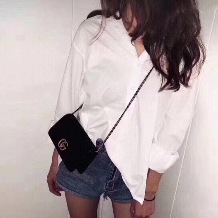 GUCCI古驰女士单肩包Gucci marmont 丝绒woc斜挎链条包