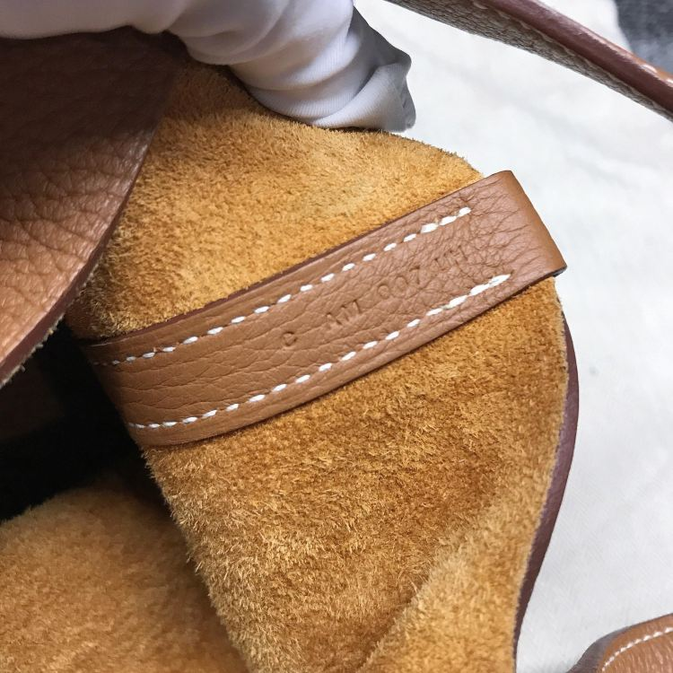 Hermès爱马仕女士手提包Hermes18小号菜篮子金棕金扣