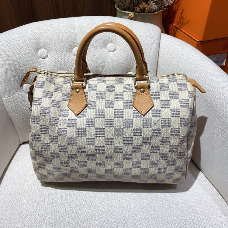 Louis Vuitton路易威登路易·威登女士手提包【98新】LV/ 白棋盘格speedy30波士顿包 手提包